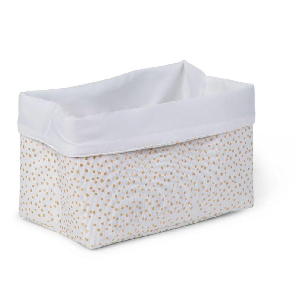 Childhome - Pudełko materiałowe 32x20x20 złote kropki | Esy Floresy
