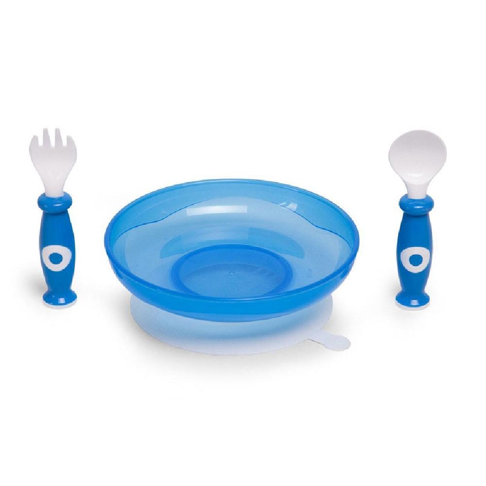 Childhome - Zestaw obiadowy 3 el. z miseczką z przyssawką White/Blue | Esy Floresy