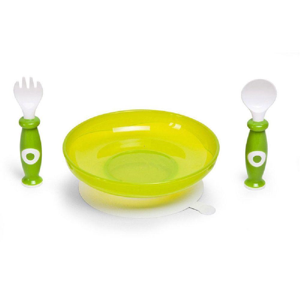 Childhome - Zestaw obiadowy 3 el. z miseczką z przyssawką White/Green | Esy Floresy