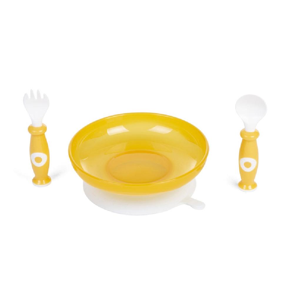Childhome -  Zestaw obiadowy 3 el. z miseczką z przyssawką White/Ochre | Esy Floresy